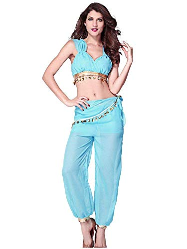 BOLAWOO-77 Damen Oberteile Und Hosen 2 Teilig Mode Vintage Ärmellos ELSA Kostüm Zumba Bauchtanz Kostüm Weibliche Cosplay Serie Halloween Blue Net Garn (Color : Blau, Size : One Size)