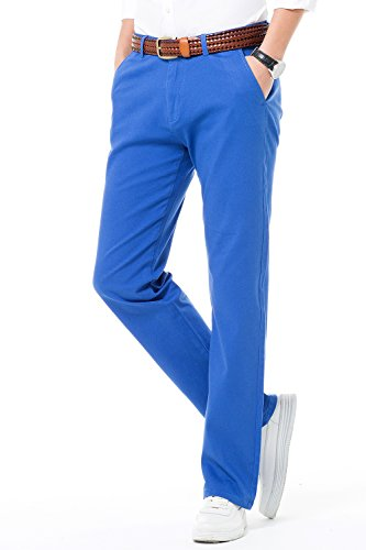 INFLATION Men's Cotton Stretch Chinos Trousers Tapered Flat Front Dress Pants Smart Casual Work, 18 Colors