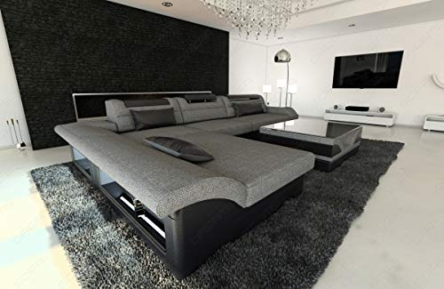 Sofa Dreams Designer Couch Monza in Stoff als L Form mit verstellbaren Kopfstützen