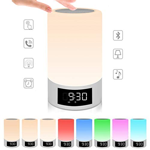Wecker Digital Funkuhr Wake Up Licht, LED Touch Sensor Licht, Bluetooth-Lautsprecher uhr, 7 Farben USB Stimmungslicht Dimmbar Nachttischlampe,White