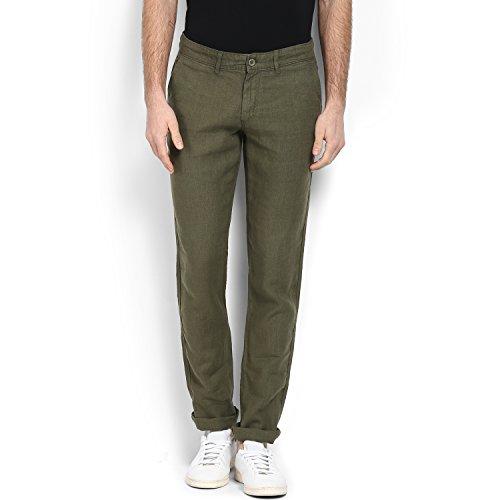 Celio Men Green Solid Linen Pants