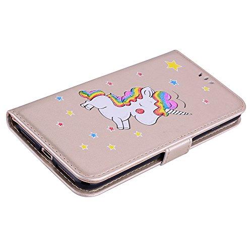 Custodia per iPhone 8 Plus / iPhone 7 Plus, ESSTORE-EU Unicorn Design Premium Custodia in PU Pelle con Custodia Innominale Soft TPU, Unicorn Carino con Bling Bling Glitter Charming Scintillante Stella Oro