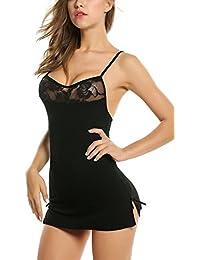 Zeela Ropa Interior Mujer Pijama de Encaje Sexy Camisón Sexy Picardías