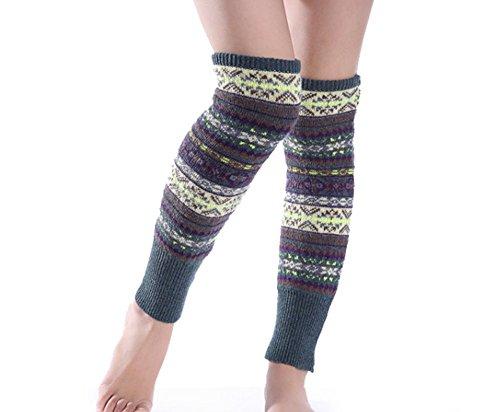 Jastore®warm Böhme Gehäkelt gestrickt Knie Socken ein paar Beinstulpen Weihnachten Strapsstrümpfe dick (Grün)