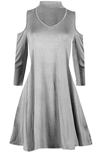 Be Jealous Damen Choker V-Ausschnitt Schlüsselloch Cold Cut Out Schulter Langarm Swing Mini Kleid Grau