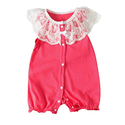 SUNFANY Prinzessin Mini Jumpsuit,Neugeborenen Baby Mädchen Overall Body Lace Straps Rüschen Strampler Outfits,Baby Geschenk(rot, 66/0-6 Monate)
