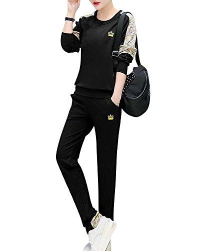 Femme Jogging Survêtement Ensembles Casual Blouson Sweat-Shirt + Pantalons Sportswear Sports Sweat-Shirt Tracksuits Noir