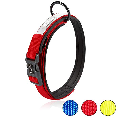 HAPPY HACHI Collar para Perros Ajustable Reflectante Suave Dog Collar Acolchado Cómoda Cuello Perro...