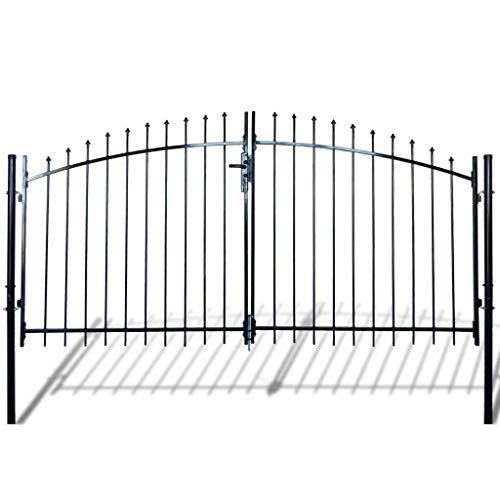Vidaxl cancello modulare doppio in metallo verniciato con frecce 300 x 175 cm