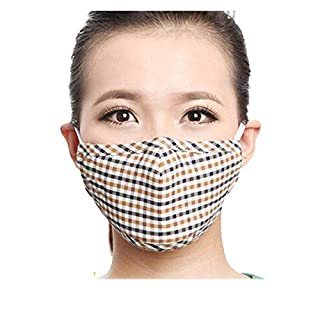 BXT Pack-3 Checked Comfort Anti Dust Face Mouth Warm Masks Cotton & Activated Carbon Check Soft Stretchy Ear Loop Face Mouth Mask Muffle For Man Woman