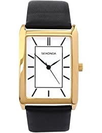 Sekonda Mens White Dial Gold Plated Case Black Strap Dress Watch 3283