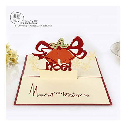 ZHOUBIN 2 fogli/set Carving and Hollowing Out 3D Cards/Greeting Cards/Regali di Natale Capodanno/Auguri di compleanno/Campane di Natale