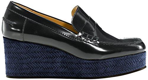 Castañer Valerie/Box Leather Woven Suede, Mocassini da Donna Multicolore(Navy / Black)