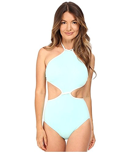 Goddess Maillot (Kate Spade New York Women's Cut Out High Neck Maillot Caribbean Sky Swimsuit)