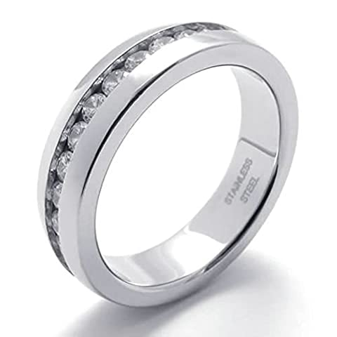 Aooaz Gravure Libre Ring For Men Rond Argent CZ Zirconia Crystal 5mm Taille 61.5 Wedding Promise
