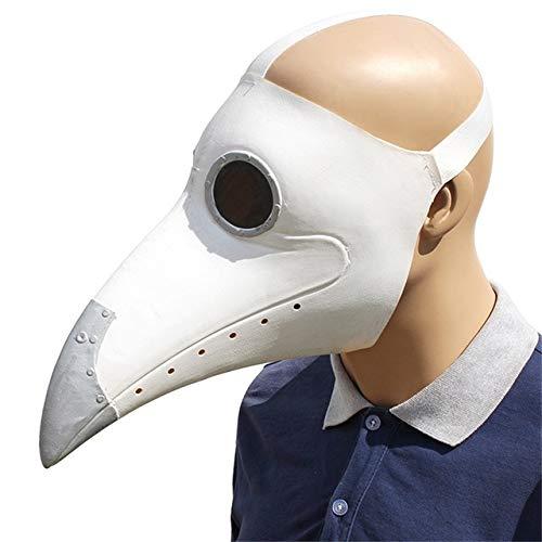 KKEINYE Pest Doktor Cosplay Kostüme Steampunk Vogel Maske Kostüm Latex Masken Halloween Party Weiß/Schwarz Vogel Schnabel Masken weiß (Weiße Pest Doktor Kostüm)