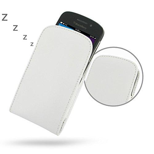 PDAir Blackberry Q10 Handyhülle Tasche (Weiß), Echtleder Handyhülle Tasche Schutz Cover Telefonkasten, Handarbeit Prämie Vertical Tasche Für Blackberry Q10 (No Gürtelclip) (Blackberry Otterbox Q10)