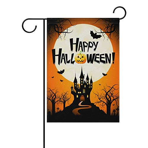 ASKYE Happy Halloween Bat Castle Double Sided Garden Yard Flag, Happy Halloween Witch Black Cat Decorative Garden Flag Banner for Outdoor Home Decor Party(Size: 12.5inch W X 18 inch H) (Bat House Kit)