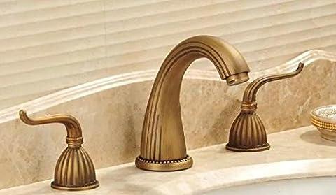 Sun-european Style 3-holes de salle de bain Lavabo Robinet solide Laiton robinet mélangeur de lavabo, b
