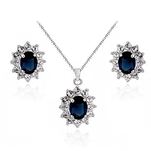 Zaffiro simulato blu Cristalli austriaci di zirconi Ellisse Purare Collana con ciondolo 45 cm Orecchini 18 kt placcato oro bianco