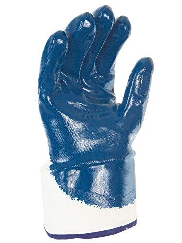 Paire de gants nitrile (3/4). Enduction lourde. Support coton cousu. Manchette toile. Singer NBR326T. Taille 10