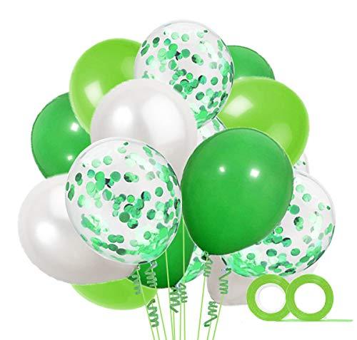 MAKFORT 40 Stück Grün und Weiß Luftballons mit Konfetti Ballons Grün und 2XLuftschlangen Helium Ballons für Hochzeit Geburstagsdeko Dinosaurier Party Babyparty Dekoration