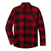 Spring&Gege Boys Casual Long Sleeve Plaid Flannel Button Down Shirt for Children Red Black Size 11-12 Years