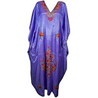 Mogul Interior Womens Kaftan Purple Kashmiri Embroidered Beach Cover Up Caftan Dress XXL