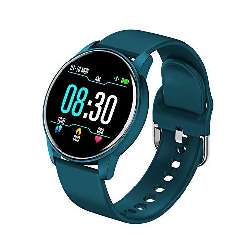 HuangTing Neue Art und Weise vorzügliches Geschenk Männer Frauen Smart-Armband LED-Farben-Voll Touch Screen Mode Sport Smart Watch Herzfrequenz Blutdruck Fitness-Armband (Color : Blue)