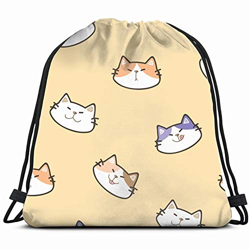 cartoon cat face design animals wildlife animal Drawstring Backpack Gym Sack Lightweight Bag Water Resistant Gym Backpack for Women&Men for Sports,Travelling,Hiking,Camping,Shopping Yoga