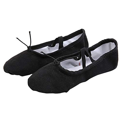 Theshy 2019 Scarpe Uomo Antinfortunistica Donna Donne Dance Yoga Balletto Pointe Dance Fitness Ginnastica Soft Bottom Dance Shoes (Black, 35)
