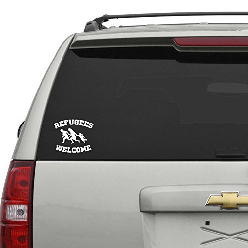 Refugees Welcome Car Sticker Weiss