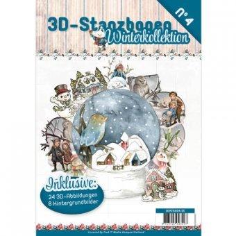3D Stanzbogen Buch A4 Winterkollektion Nr.4 - 24 3D Motiv & 8 Hintergrundpapiere