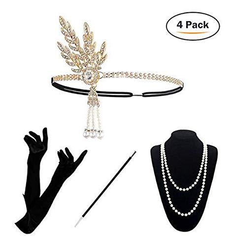 re Zubehör Set Flapper Kostüm-Set Zirkonia Blatt Stirnband, Perlenkette, Handschuhe, Zigarettenhalter 1920er Jahre Halloween Kostümzubehör Weiß ()