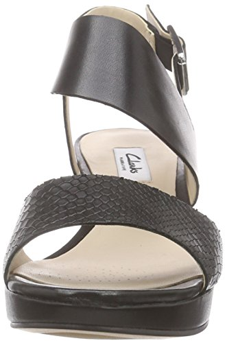 Clarks Ornate Fleur, Sandali Donna Nero (Black Leather)