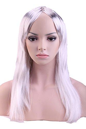 S-noilite® Nouvelle Perruque Cheveux synthétiques Femme 50cm Longue Raide/Droite Avec frange Pour La vie quotidienne Cosplay Déguisement Costume - Couleur:Gris argenté