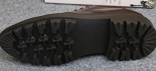 Anlarach Hommes Robe de mariage décontractée Zipper Upper Platform Wedge Oxford Chaussures Rouge