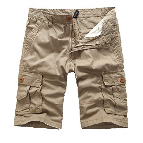 Cargo Hose Männer Kurz Shorts GreatestPAK Herren Einfarbig Cargo-Shorts Knopf Pocket Arbeitshorts Mode,Khaki,EU:L(Tag:32) -