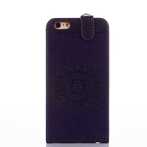 Custodia iPhone 6/6S plus,Ukayfe Flip Cover Case Custodia per iPhone 6/6S plus in pelle PU,iPhone 6/6S plus Lussuosa Astuccio Custodia Cover [PU Leather] [Shock-Absorption] Protettiva Portafoglio Cove Porpora