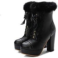 Zapatos Invierno Mujer Botas De Nieve,Dulzura Japonesa De Moda Plataforma Impermeable Negro De Tacón Alto Invierno Suave Caliente Pista Corta Confortable Antideslizante Para Exteriores Resistente Al
