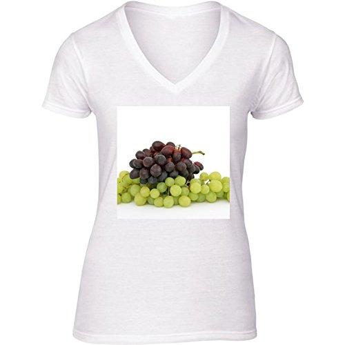 t-shirt-pour-femme-blanc-col-v-taille-l-raisins-fruit-vert-faim-by-wonderfuldreampicture