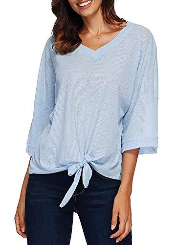 Qiusa Frauen Lose 3/4 Ärmel T-Shirt V-Ausschnitt Batwing Tied Bottom Solid Tees Shirts Casual Tops (Farbe : -, Größe : -) - Schulter Ausgestattet Drop