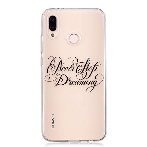 FugouSell Huawei P20 Lite Case, Creative Design Never Stop Dreaming Durable Protective Case Back Case with Backcover Edge Protection Cover Compatible with Huawei P20 Lite