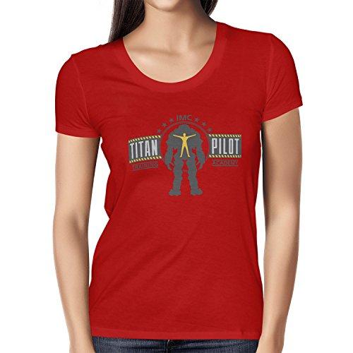 Electronics Corporation Pc (NERDO - IMC Titan Pilot Training Academy - Damen T-Shirt, Größe M, rot)