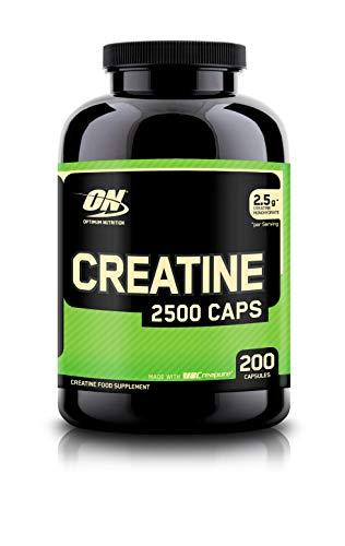 Portionen 200 Kapseln (Optimum Nutrition Creatine 2500mg Capsules- Kreatin-Monohydrat Creapure (hergestellt für Muskelaufbau vn ON) Unflavoured, 100 Portionen, 200 Kapseln)