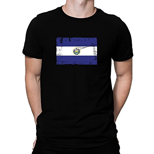 Teeburon El Salvador Vintage Flag T-Shirt (El Salvador Flag Tshirt)