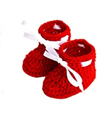 LOVE CROCHET ART Baby Wool Booties (Red, 6-12 Months)