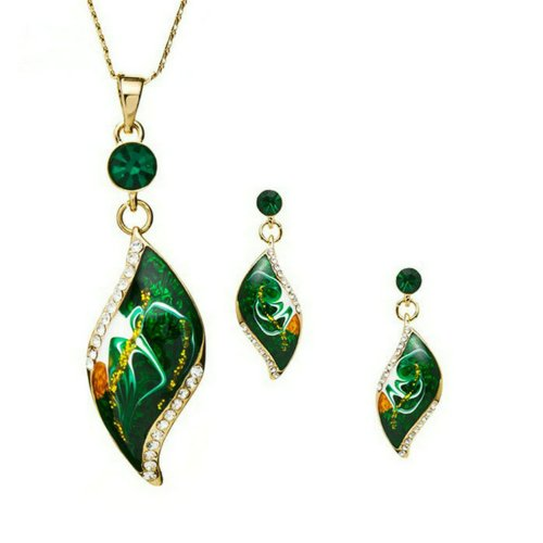 Yoursfs 18K Yellow Gold Plated Use Austrian Crystal Leaf Shape Green Earring and Necklace Set