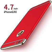 Funda iPhone 6/6s, PRO-ELEC Carcasa iPhone 6 / 6s con [ Protector de Pantalla de Vidrio Templado ] 3 en 1 Desmontable Ultra-Delgado Anti-Arañazos iPhone 6 Funda Protectora - 4.7 pulgada - Rojo