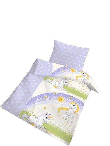 Baby Bettwäsche 100 x 135 von Träumschon | Einhorn Bettwäsche 100x135 mit Einhorn Kissen 40x60 cm | Baby Bettwäsche Set Made in Germany nach Öko-Tex Standard (Eule Bettwäsche Für Mädchen Schlafzimmer)